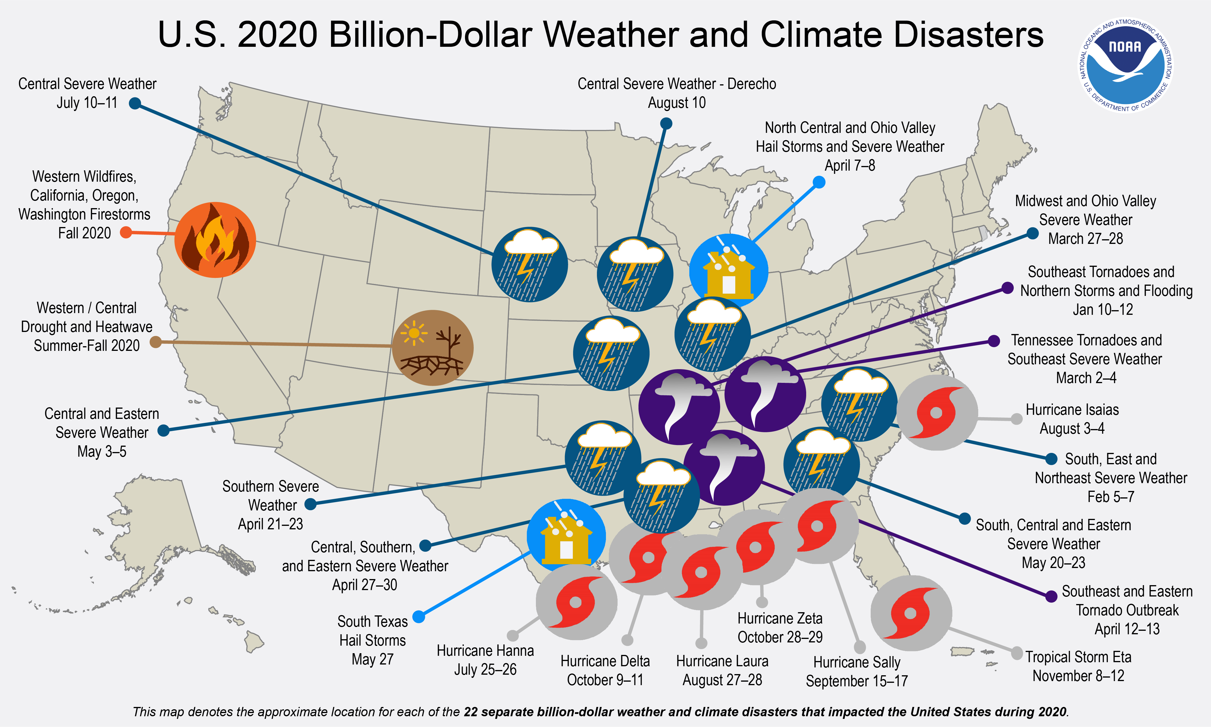Infograph - US 2020 Billion Dollar Weather And Climate Disasters
